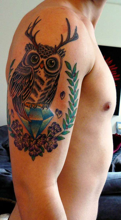 Deer Antlers Owl On Blue Diamond Tattoo