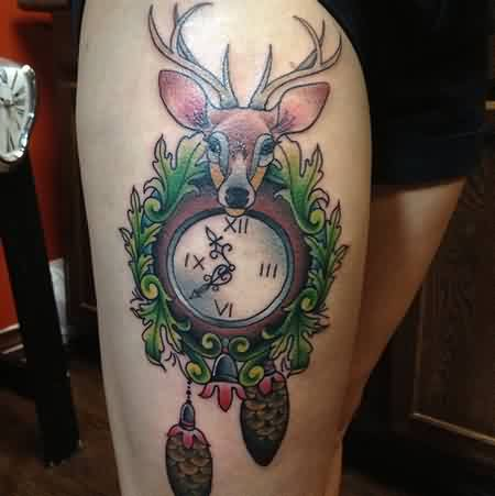 Deer Cuckoo Clock Tattoo On Thigh