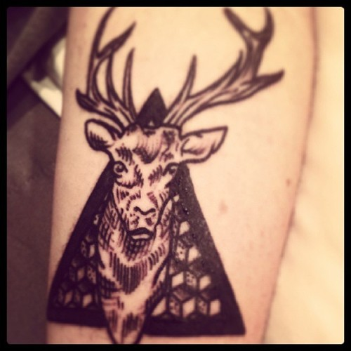 Deer Triangle Tattoo For Guys