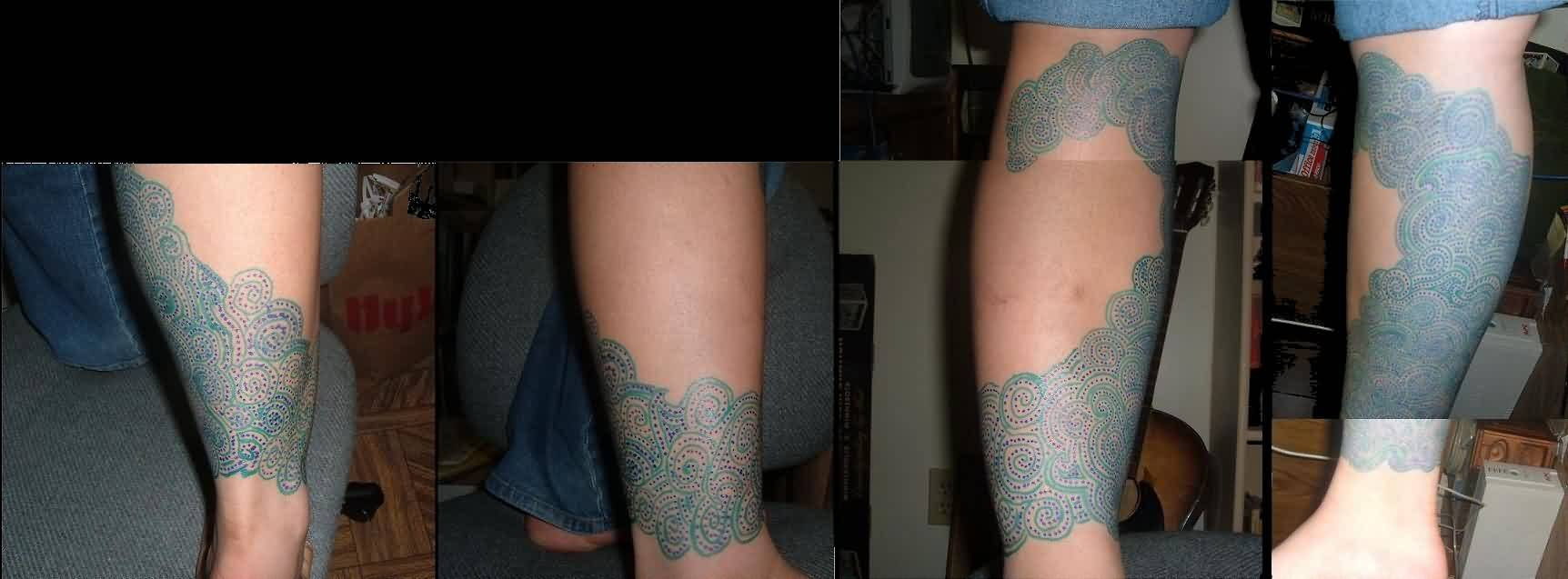Designer Blue Wave Leg Tattoos