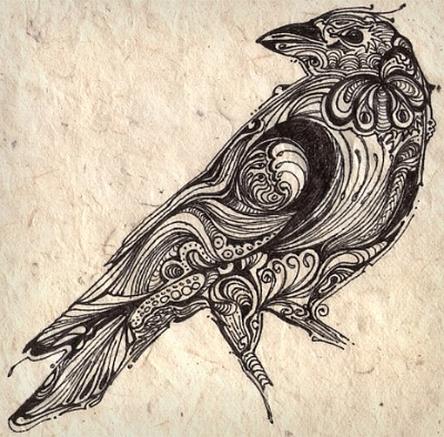 Designer Crow Tattoo Print