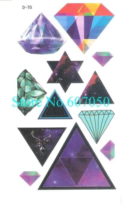 Diamond And Magical Triangle Waterproof Temporary Body Tattoo Designs
