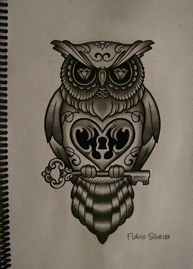 Diamond Eyed Owl Tattoo Design