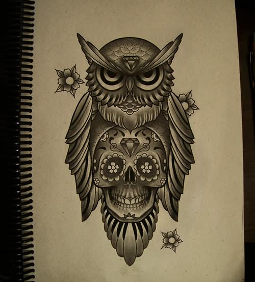 Diamond Forehead Owl Tattoo Design