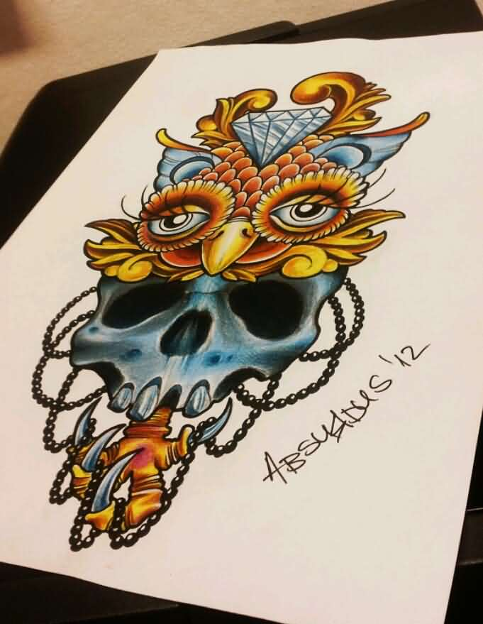 Diamond Owl Skull Tattoo Page