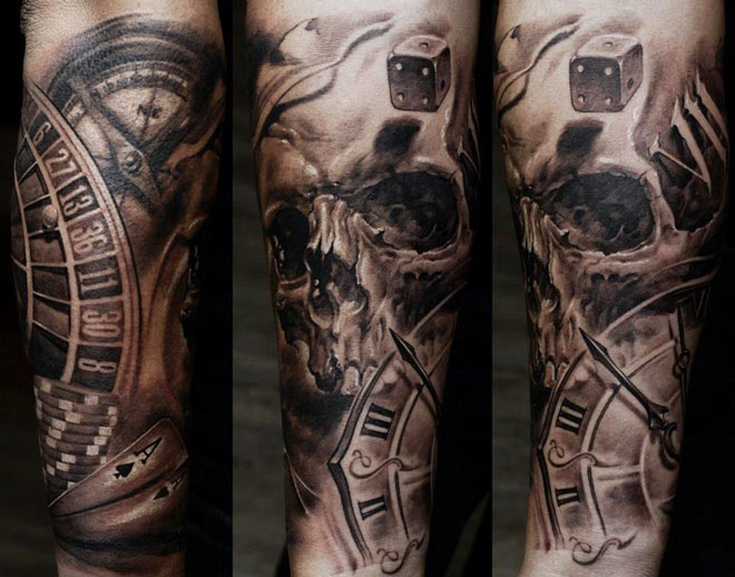 Dice Skull And Clock Sleeve Tattoos