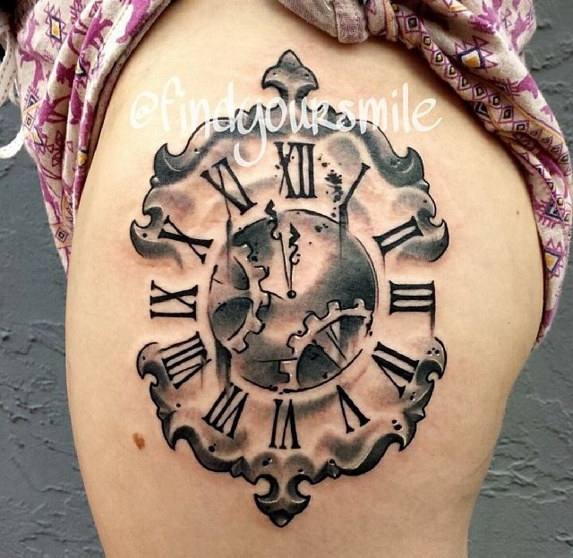 Different Clock Tattoo On Thigh