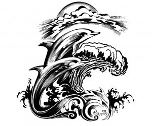 Dolphins On The Waves Tattoo Design