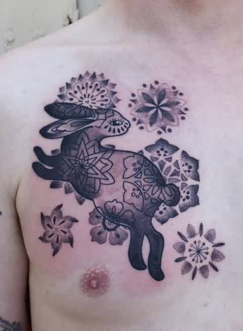 Dotwork Flowers And Rabbit Tattoos On Chest