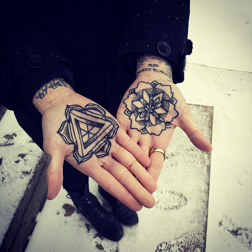 Dotwork Penrose Triangle And Mandala Tattoos On Palm