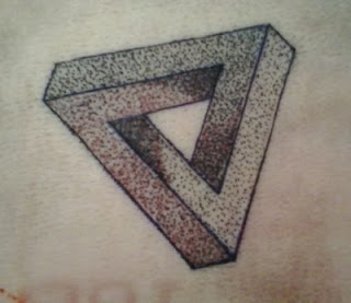 Dotwork Penrose Triangle Tattoo