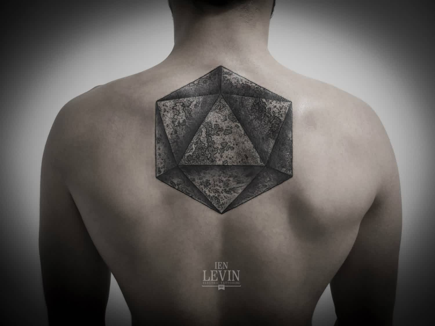 Dotwork Triangle Tattoo On Upperback