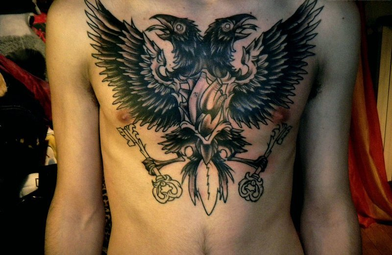 Double Headed With Heart Tattoo On Chest