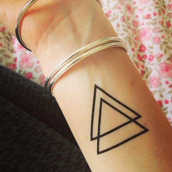 Double Outline Triangle Tattoos On Wrist