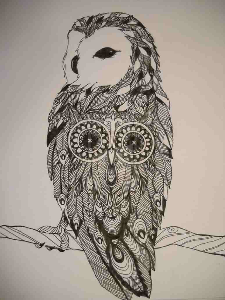 Double Owl Sitting On Branch Tattoo Print