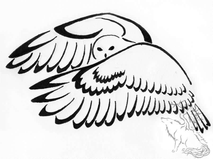 Downbeat Owl Tribal Tattoo Design