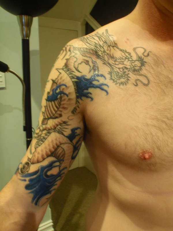Dragon And Wave Tattoos For Men