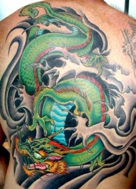 Dragon And Waves Tattoos On Entire Back