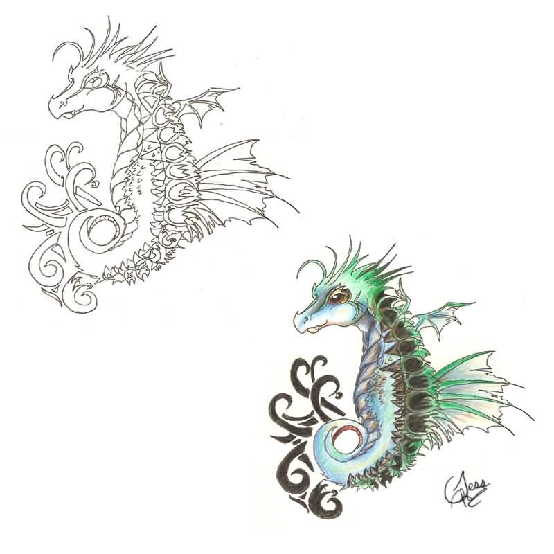 Dragon Seahorse Tattoo Designs