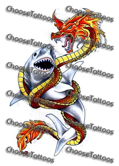 Dragon Vs Shark Tattoo Design