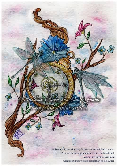 Dragonflies Clock And Branch Tattoo Designs