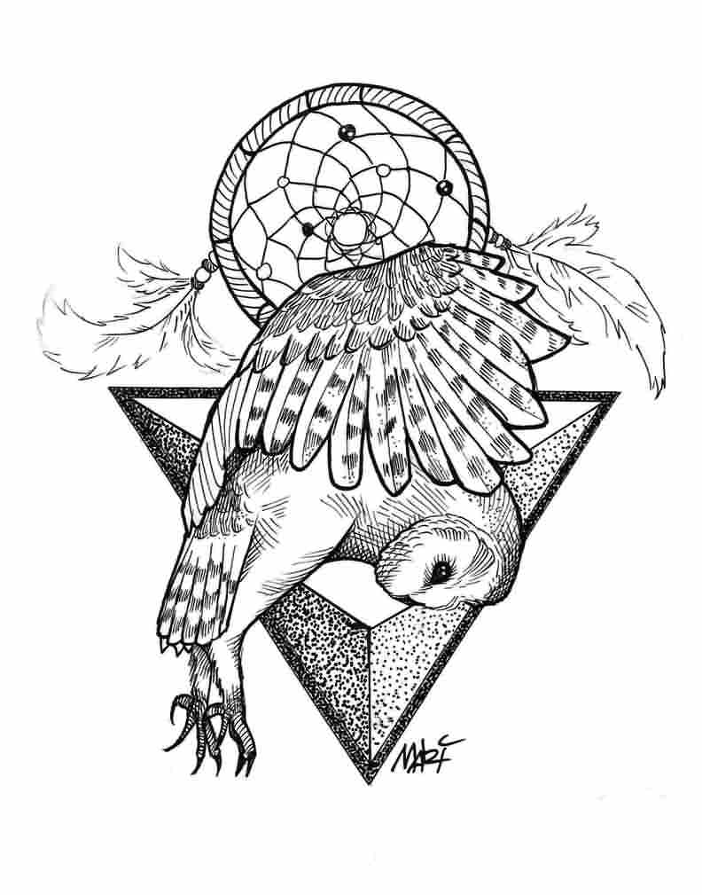 Dreamcatcher And Owl Tattoo Designs