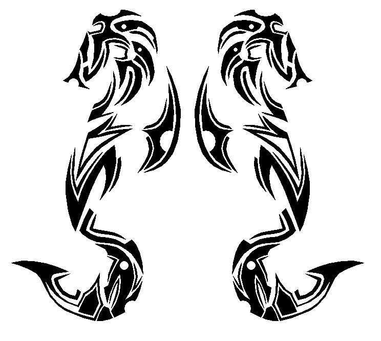 Dual Tribal Seahorse Tattoo Designs
