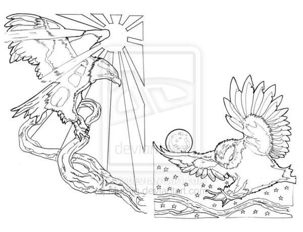 Eagle And Owl Tattoos Sample