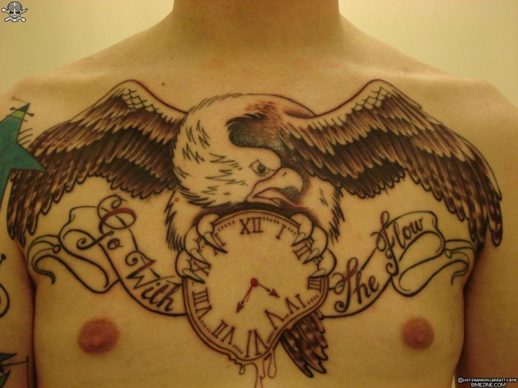 Eagle With Dali Clock Tattoo On Chest