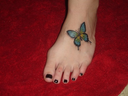 Elegant 3D Butterfly Tattoo On Foot