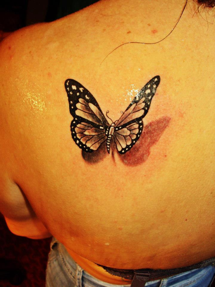 Elegant 3D Butterfly Tattoo