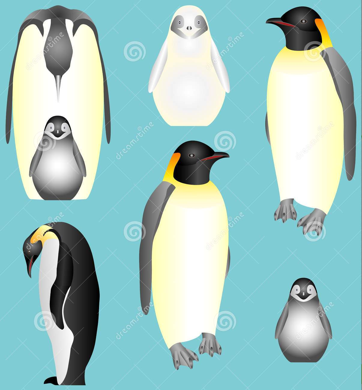 Emperor Penguins Tattoos Set
