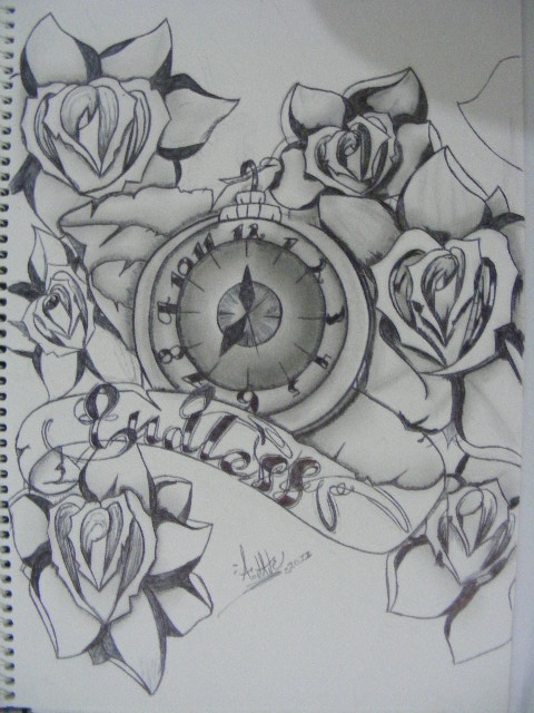 Endless Clock And Roses Tattoos Sketch