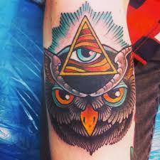 Eye And Owl Face Tattoos