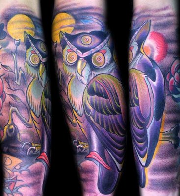 Eye Forehead Owl Tattoo On Sleeve