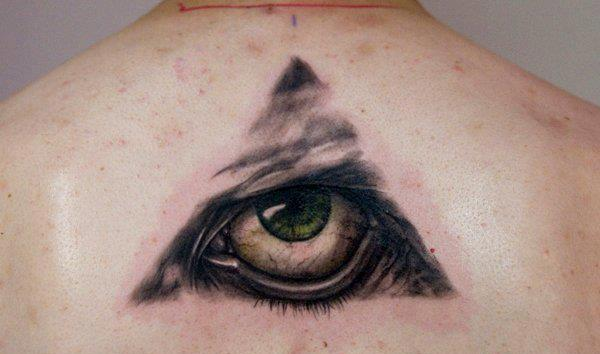 Eye Pyramid 3D Tattoo On Upperback