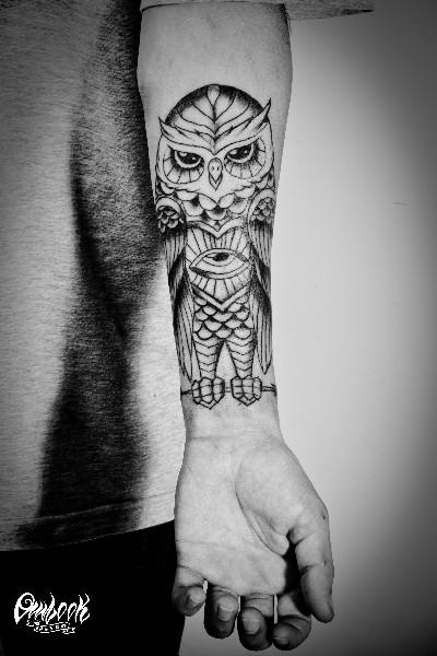 Eye Stomach Owl Tattoo On Lower Arm
