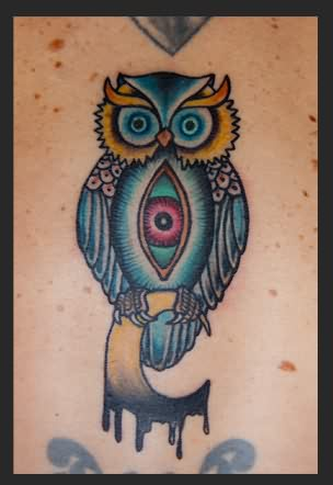 Eye Stomach Owl With Moon Tattoo