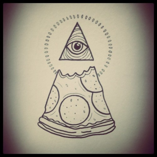 Eye Triangle And Pizza Tattoo Design
