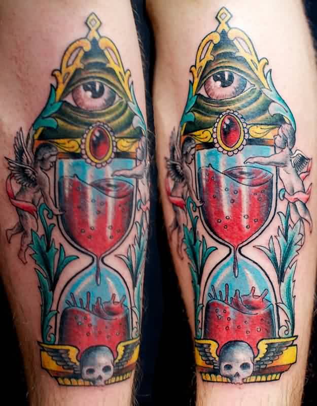 Eye Triangle And Red Sandclock Tattoos