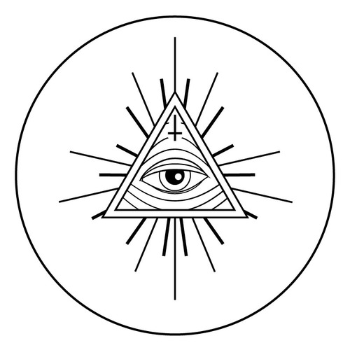 Eye Triangle In Circle Tattoo Design