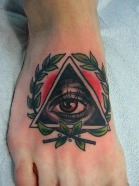 Eye Triangle Tattoo On The Foot