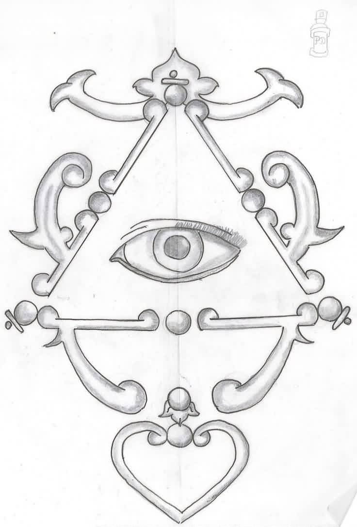Eye Triangle Tattoo Sketch