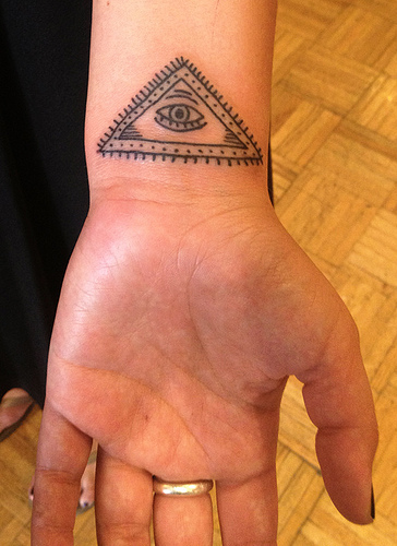 Eye Triangle Tattoo Under Wrist