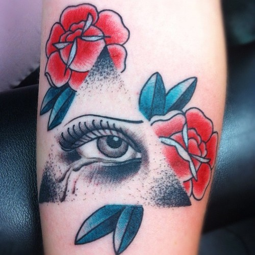 Eye Triangle Tattoo With Roses