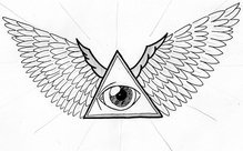 Eye Triangle With Wings Tattoo Design