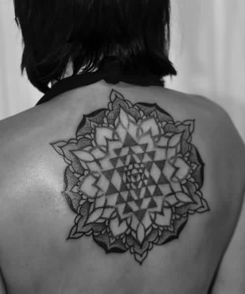 Fabulous Geometric Triangle Tattoo On Upperback