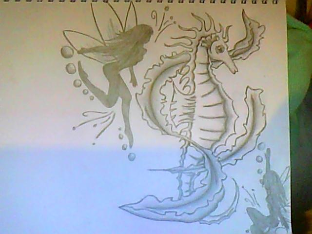 Fairy And Seahorse Tattoos Sketch