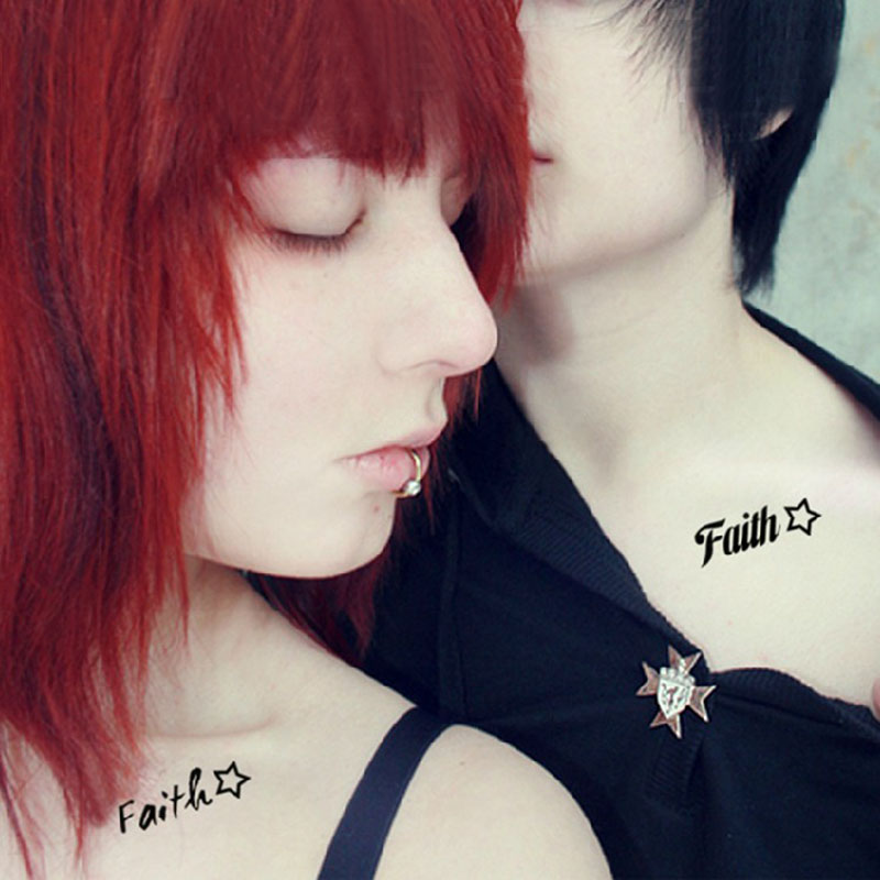 Faith Collarbone Tattoos For Couple