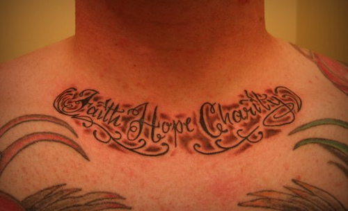 Faith Hope Charity Tattoos On Collarbone